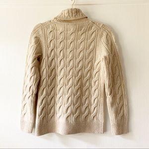 L.L. Bean Sweaters - L.L. Bean Cream Fisherman Turtleneck Sweater Small
